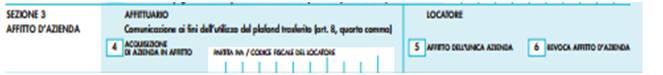quadro e sezione 3 richiesta partita iva