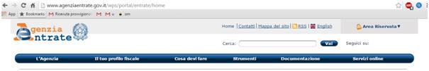 Homepage sito web Agenzia delle Entrate